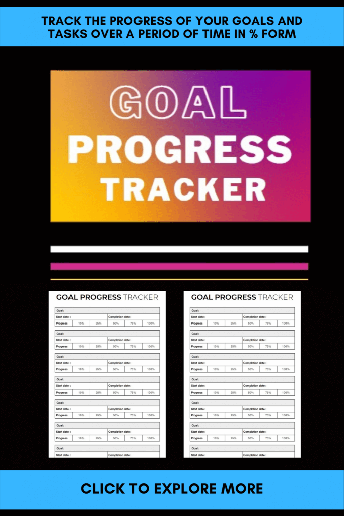 Goal Progress Tracker Track The Progress of Your Goals And Tasks Over a Period of Time In Percentage Form Entrepreneur Friend